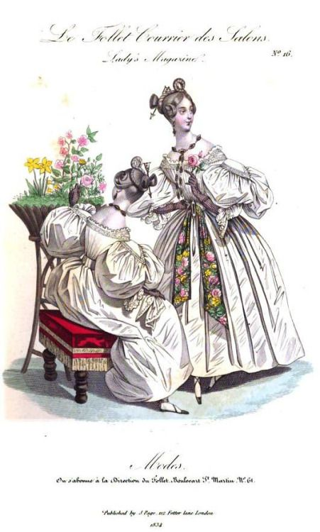 Lady's Magazine, August 1834. Look at the little arrows through their buns <3