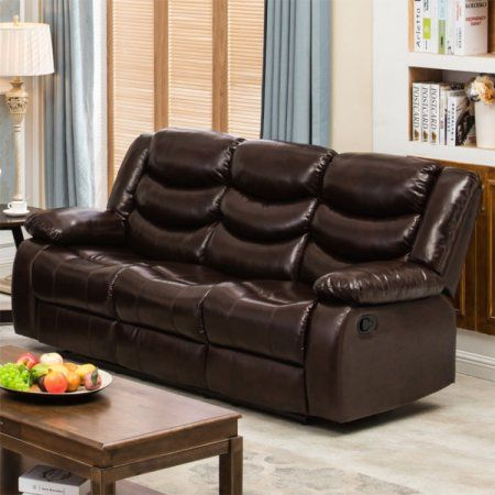 winslow rustic dark brown pu leather recliner sofa with cup holder rh pinterest ca