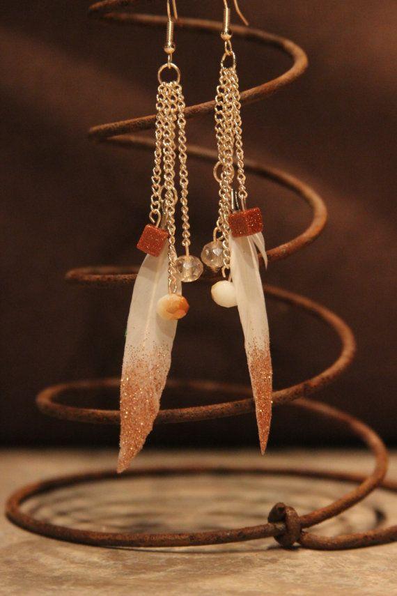 Glittered White Feather Dangle Earrings