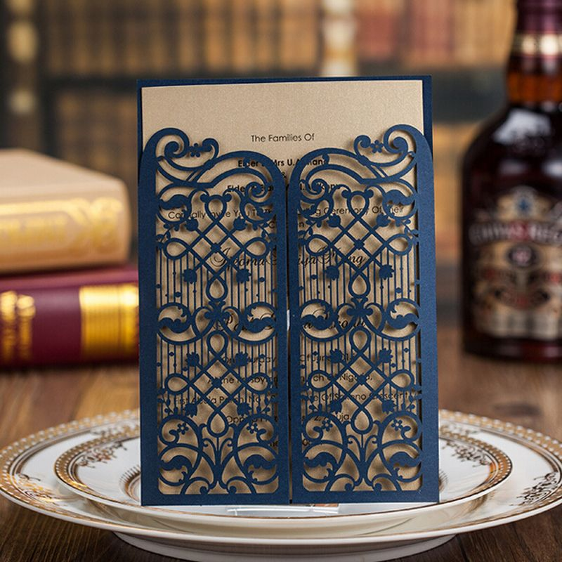 wedding invitation online purchase%0A Cheap card access  Buy Quality card reader access control directly from  China card holder with money clip Suppliers  Laser Cut Wedding Invitations  Dark Blue