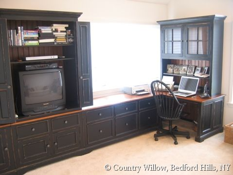 Custom Combination Entertainment Media Center And L Shaped Desk System With Hutch Lots Of Storage Black Natural Desktop Back Panels