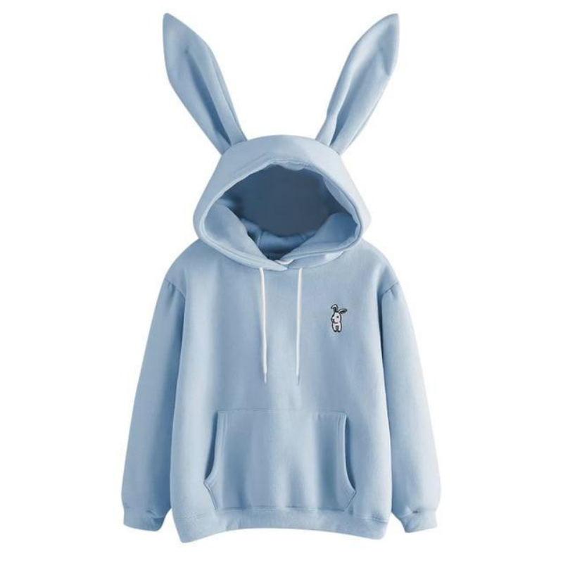 Kawaii Clothing Ropa Hoodie Harajuku Rabbit Bunny Ears Black Grey Sweatshirt No