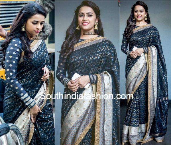 bef3ebcb4680c3 sri divya in black saree and full seeves blouse at Sangili Bungili Kadhava  Thorae Audio Launch