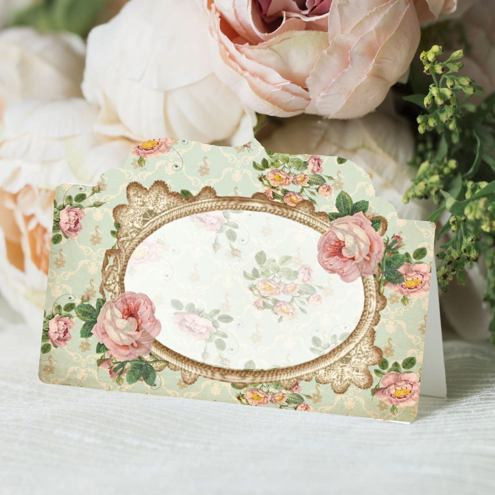 Shabby Chic Place Cards Wedding Name Seat Cards Reception Floral