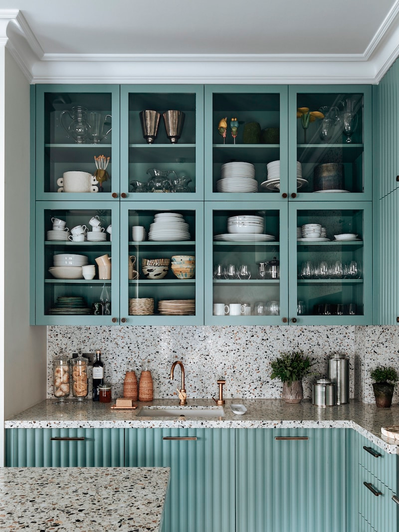 An Unexpected Wood Choice Is At The Core Of These Ribbed Kitchen Cabinet Doors In 2020 Kitchen Cabinet Doors Kitchen Cabinets Seafoam Cabinets