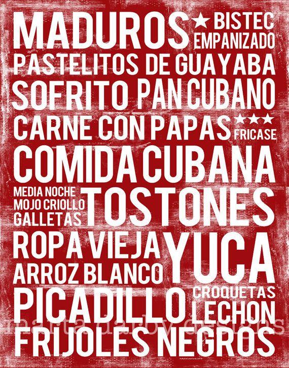 cuban food poster or comida cubana subway art your favorite cuban foods in one elegant food word art poster