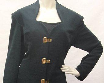 80 S Vintage Joseph Ribkoff Suit Women S Blazer Skirt Set Dark