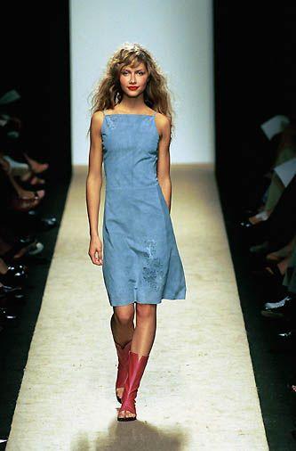 BCBG Max Azria   Spring 2000 Ready-to-Wear   81 Blue suede strappy midi dress