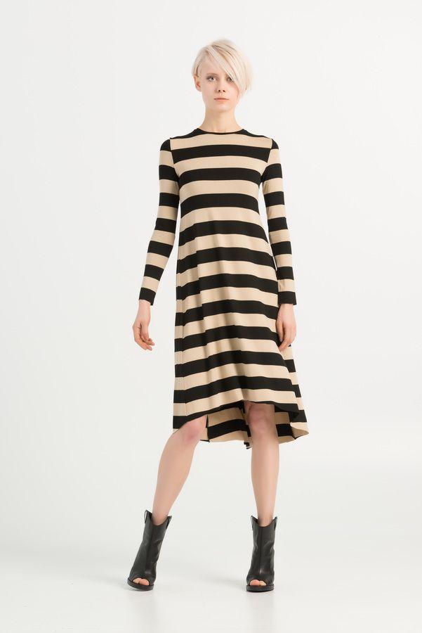 Sukienka Flambee Paski Czarny Bonjour And Kiss Sukienki Damskie Mustache Pl Sweater Dress Fashion Long Sleeve Dress
