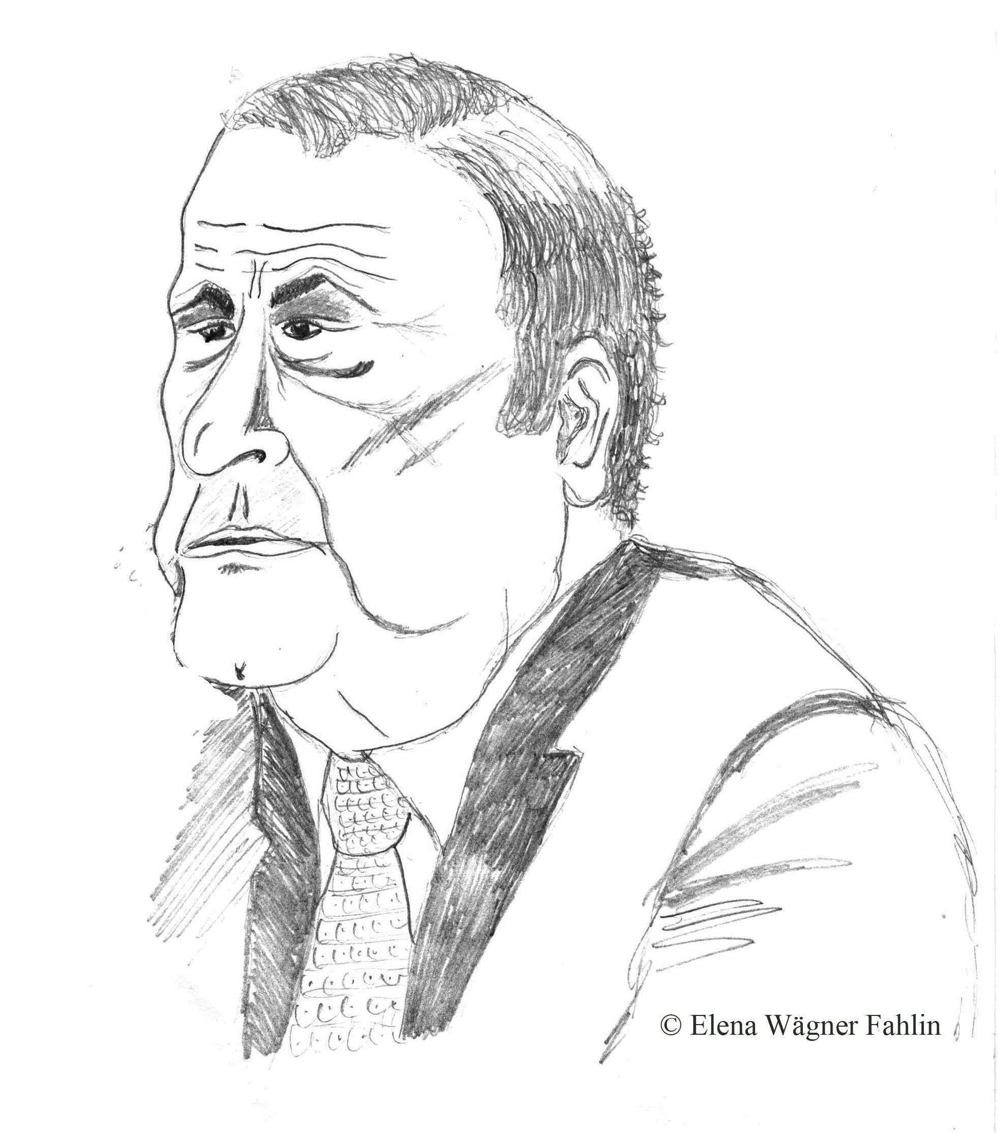 Retrato del profesor y médico forense D. José A. García Andrade. Dibujado por Elena Wägner Fahlin el 18 de Nov de 1994, durante una de sus conferencias.