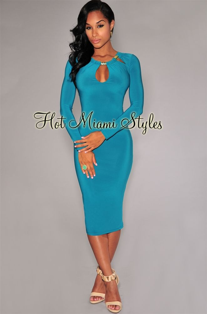 6ef1c946871 Emerald Gold Decor Long Sleeves Midi Dress
