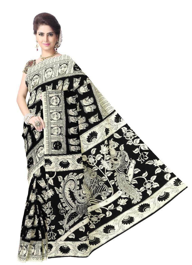 Kalamkari Saree in Cotton Silk -Black&White
