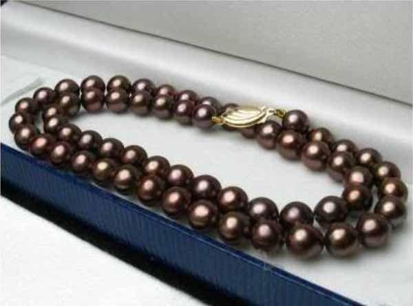 สร้อยคอมุก แฟชั่นเกาหลีออกงานราตรีแต่งงาน8mm Shell Pearl Necklace นำเข้า สีน้ำตาล - พร้อมส่งW388 ราคา 490 บาท
