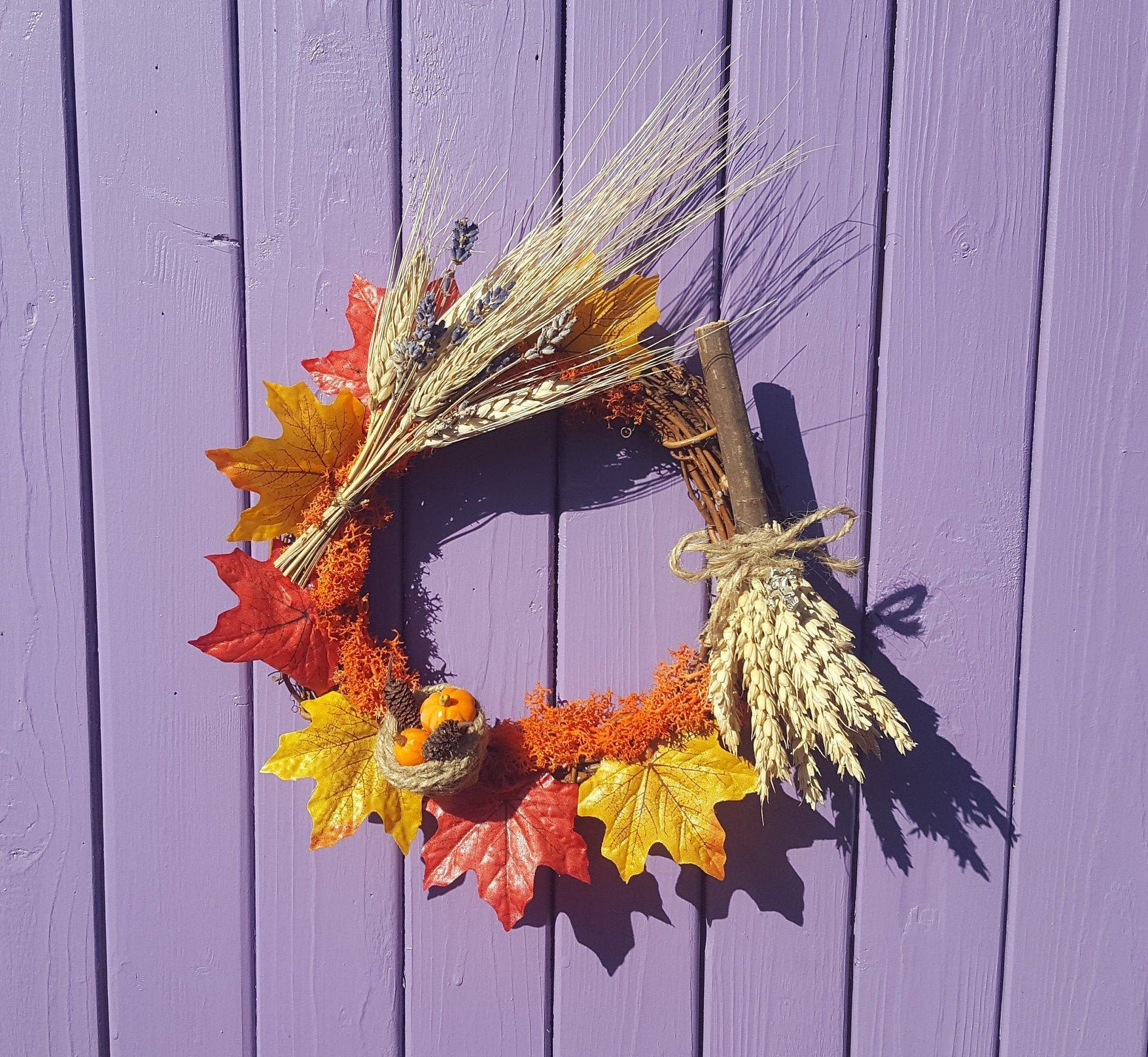 Photo of Autumn Besom Wreath, Harvest Decoration, Wheat Broom, Witches Broomstick, Autumn…