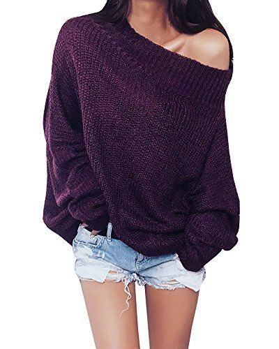 0ba827f2d7b Gobought Womens Off Shoulder Long Sleeve Loose Fit Knit Sweater Tops  Pullover Blouse Small Purple   You can find out more details at the link of  the image.