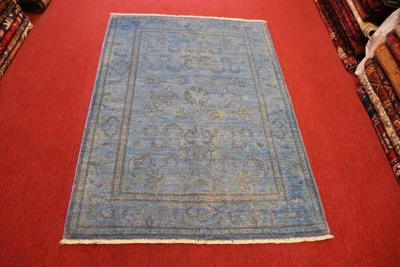 Size 3 4 X 4 10 Feet Vintage Afghan Over Dye Oushak Small Blue Etsy Blue Rug Rugs Vintage Carpet