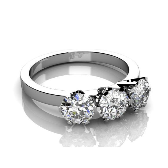 Stunning  Dubai Wholesale Diamonds Kt White gold trilogy diamond engagement ring round