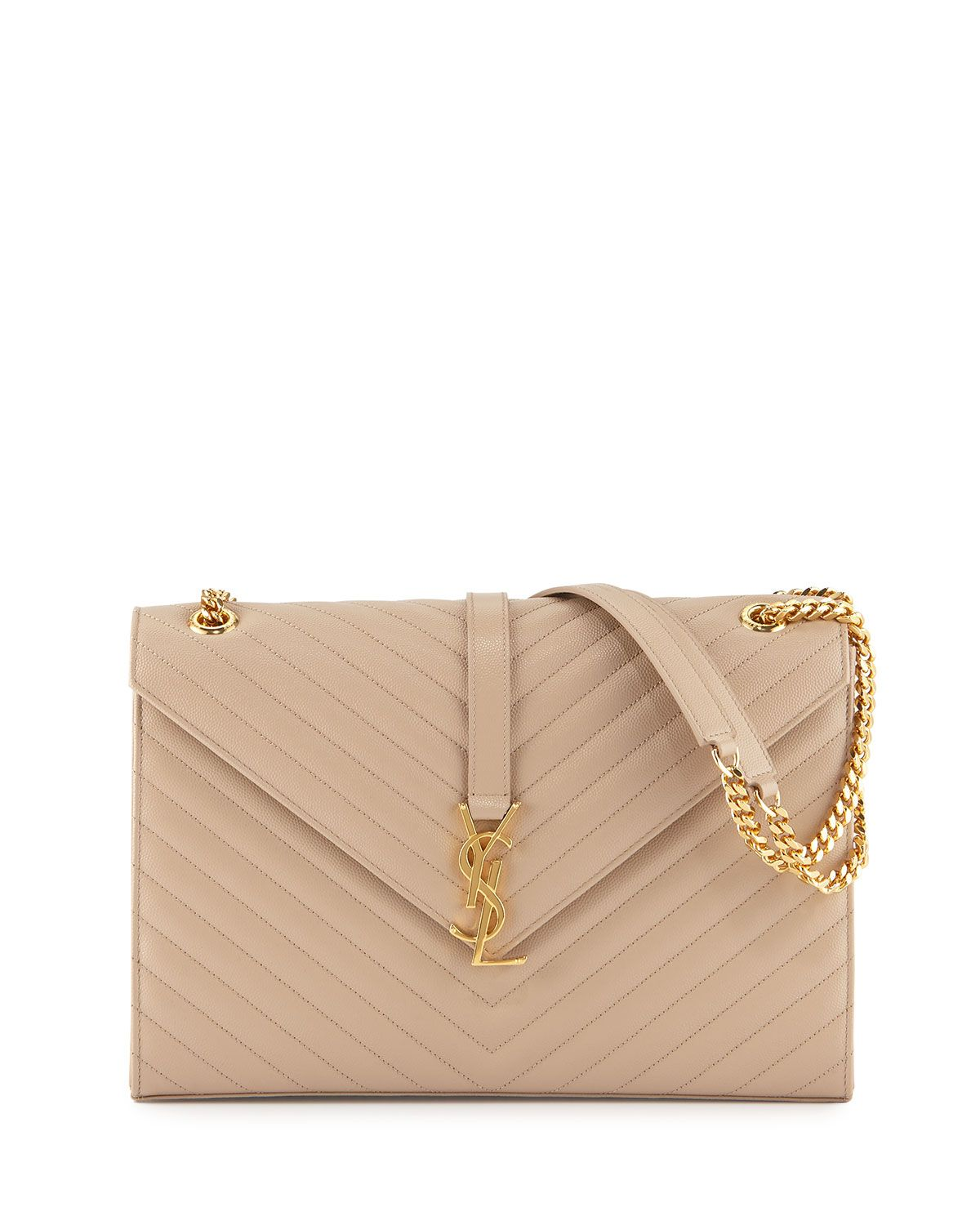 748c972c0bd Monogram Matelasse Shoulder Bag, Dark Beige, Women's - Saint Laurent