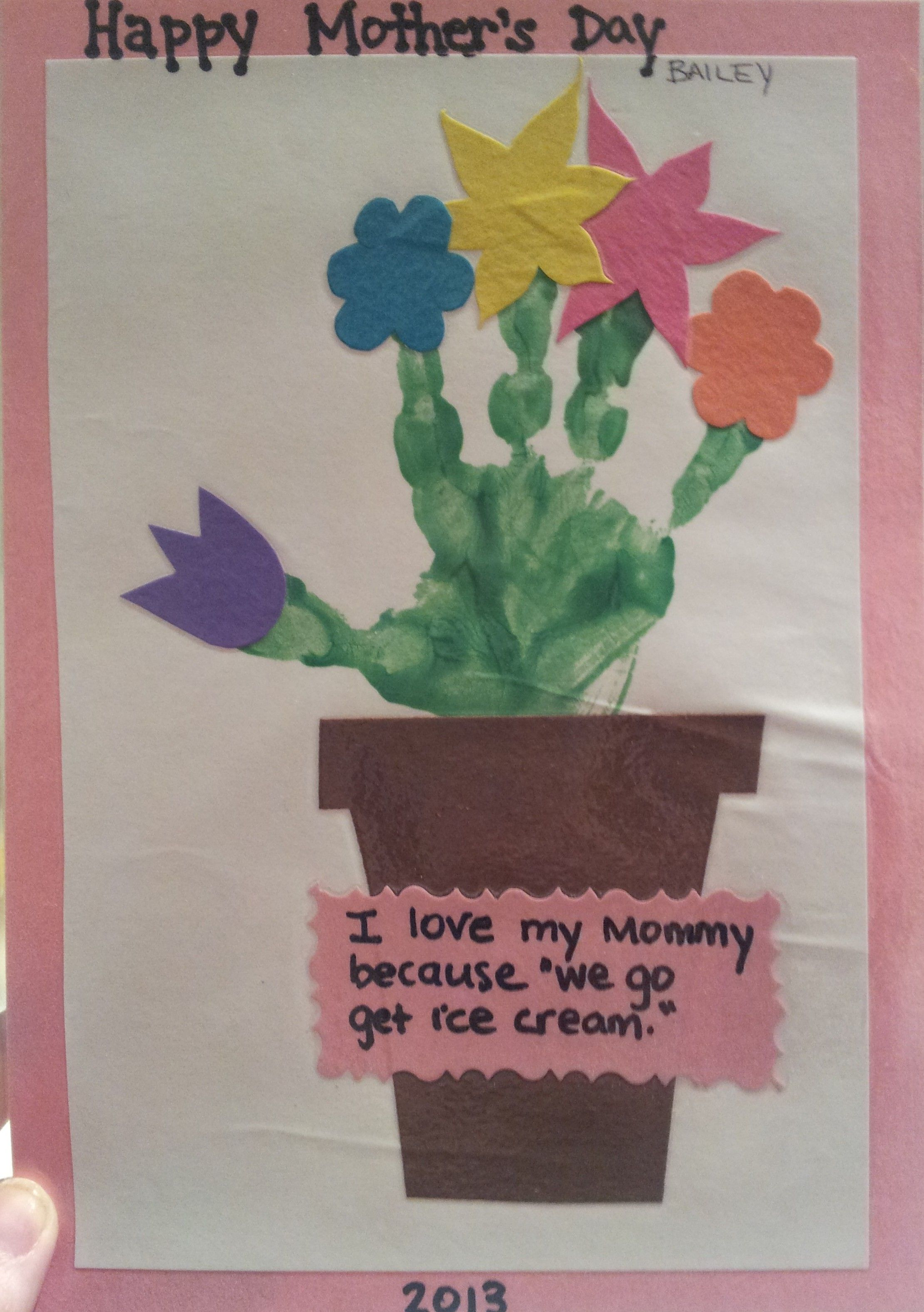 Great Mothers Day Craft Easy And Super Cute Green Paint Handprint