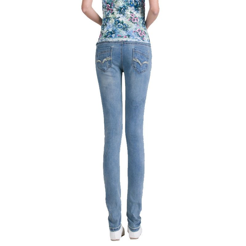 d0d37da6e1 Elastic Waist 100% Cotton Maternity Jeans Pants For Pregnancy Clothes For Pregnant  Women Legging Autumn