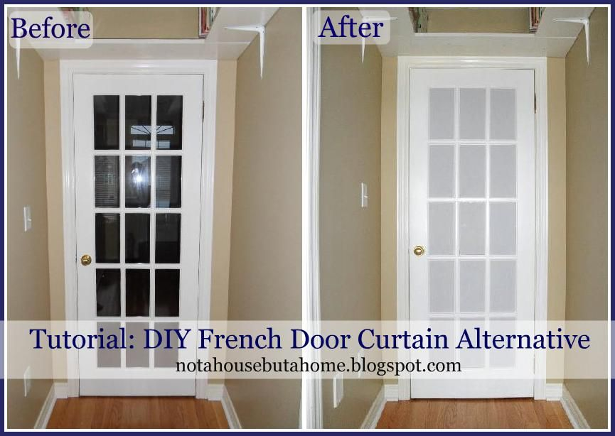 Not a house but a home tutorial diy french door curtain for Door substitute ideas