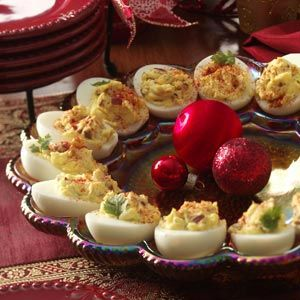Deviled Eggs with Bacon Recipe -- Ac'cent is the perfect alternative for your cooking with salt needs - accentflavor.com #bacon #deviled eggs #accentflavor