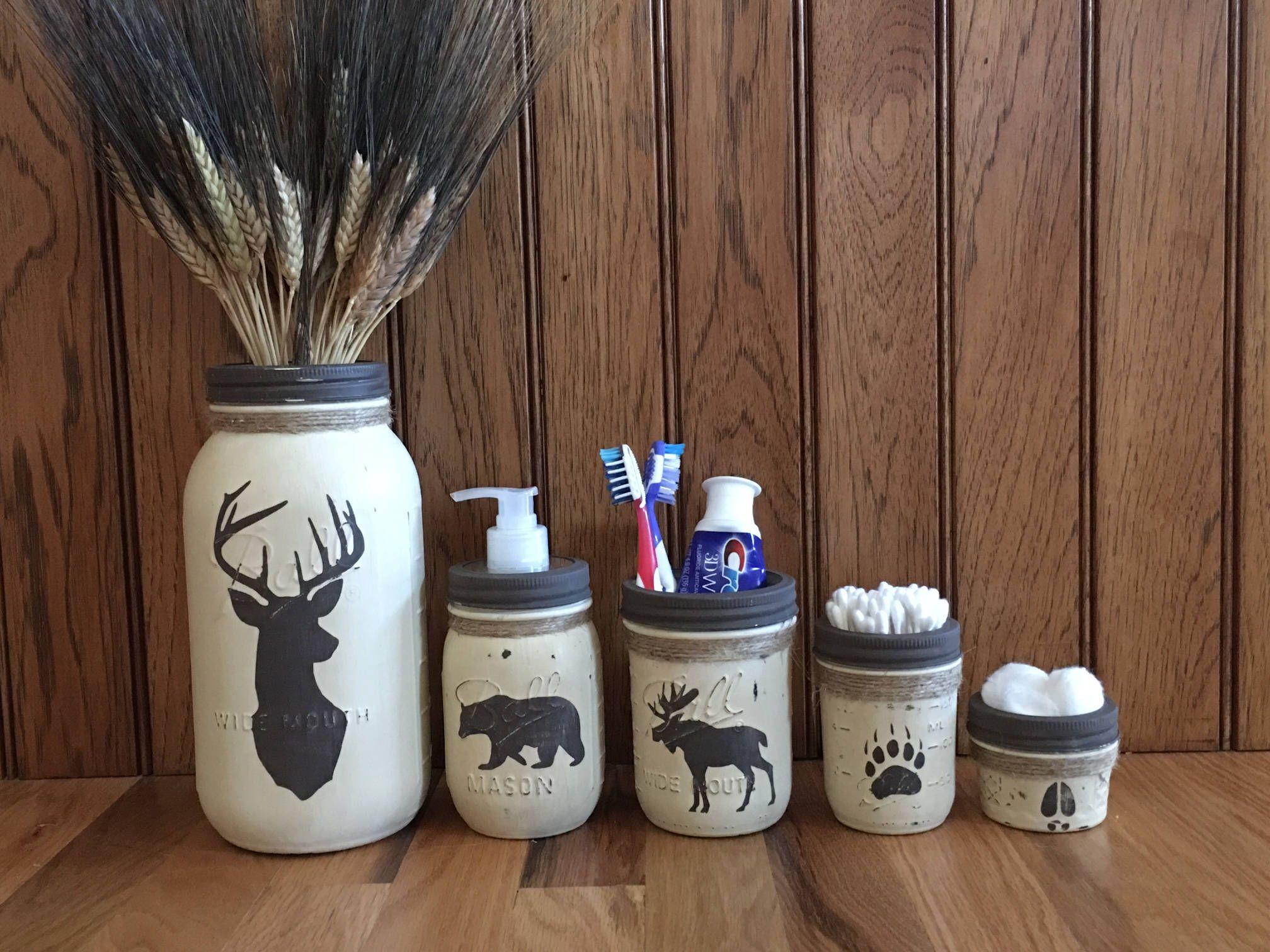 Deer Moose Bear Mason Jar Bathroom
