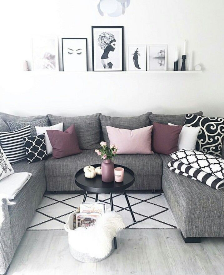 Purple Black And White Living Room: Love These Tones For The Living Room