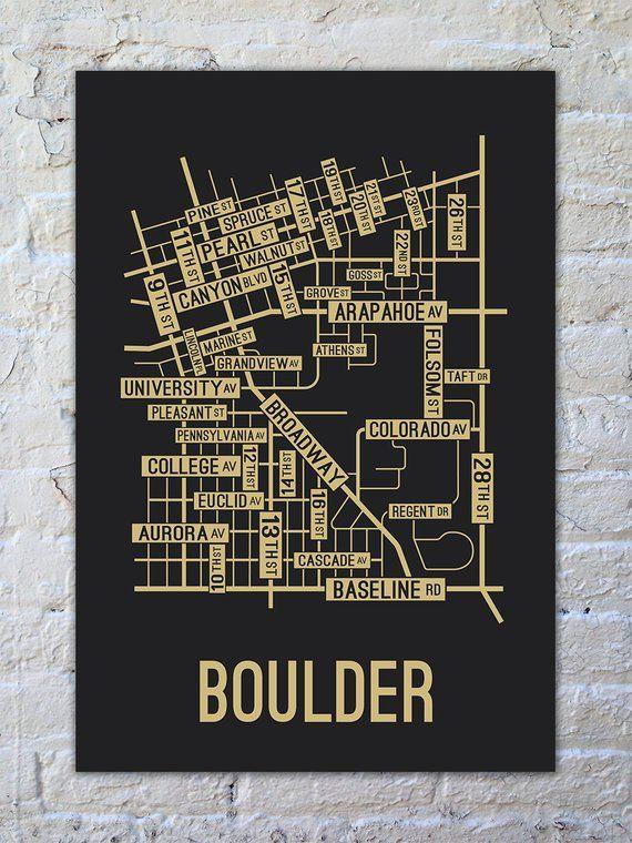 Boulder Colorado Street Map Screen Print in 2018