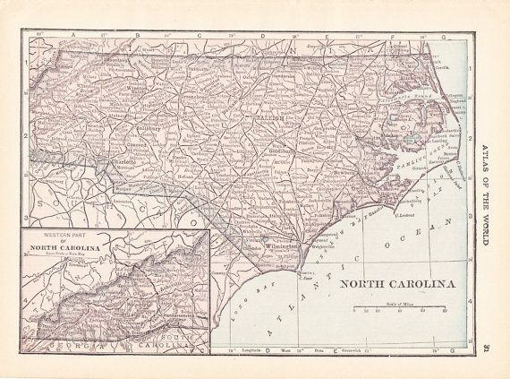 1913 State Map North Carolina Vintage Antique Map Great for