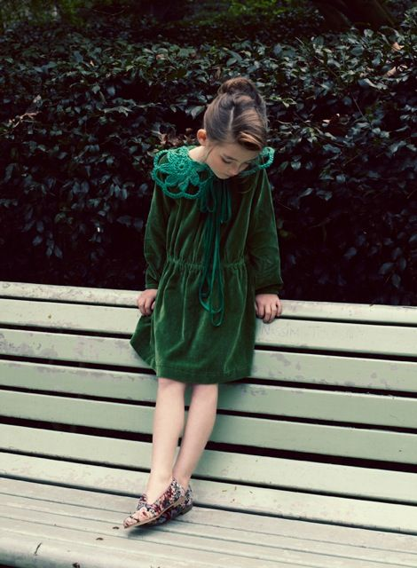 Gorgeous green dress shot by Melanie Rodriguez for Luna Magazine kids fashion winter 2013