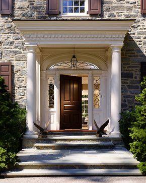 Dutch Colonial Black Front Door Colonial Entrance Home - Colonial portico front entrance