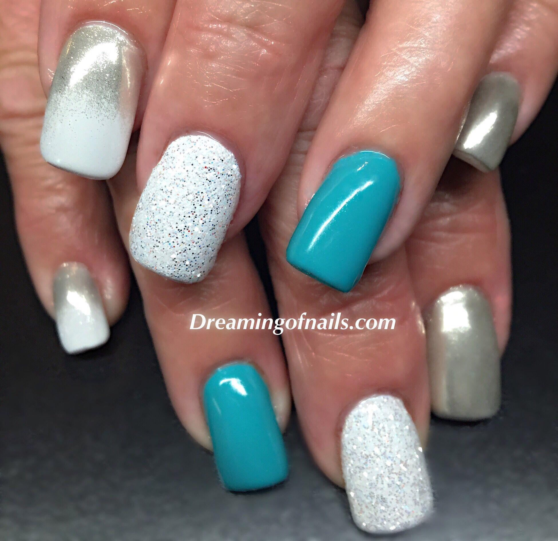 Glitter Nail designs chrome #Turquoise #White #Hombre # ...