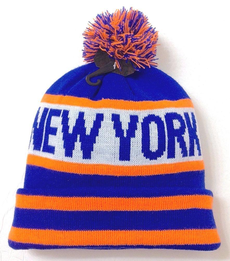 4963d8763c9 NEW YORK POM BEANIE Mets Knicks Colors NEON ORANGE Winter Knit Ski Hat Men Women   KBTrading  Beanie