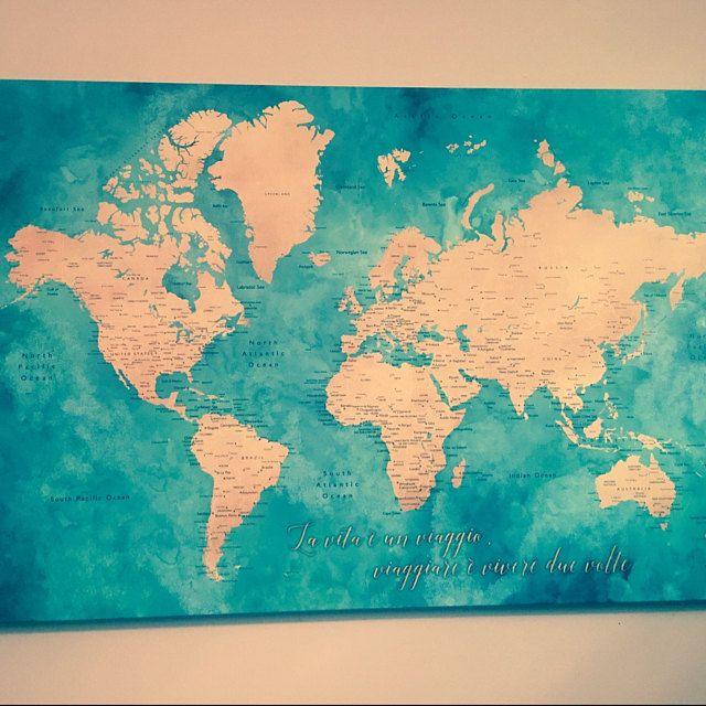 Personalized world map push pin board by blursbyai