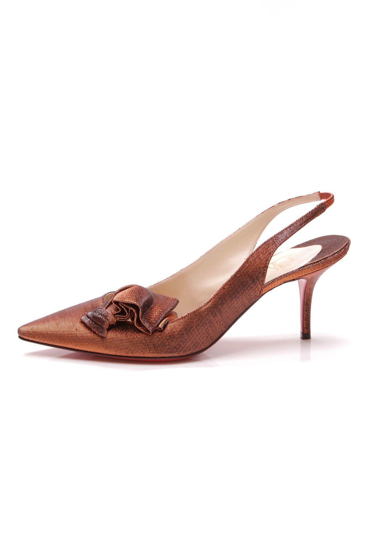 a3eaff10e5fe Christian Louboutin Lady Cukor Slingback Heels - Metallic Orange Manolo  Blahnik