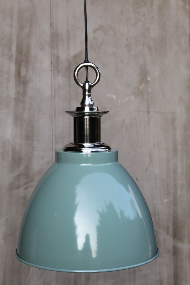 32 Hnge Lampe Industrielampe Metall trkis Retro Vintage