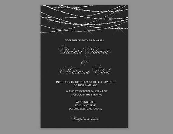 Wedding Invitations Black And Silver Invitation Printable