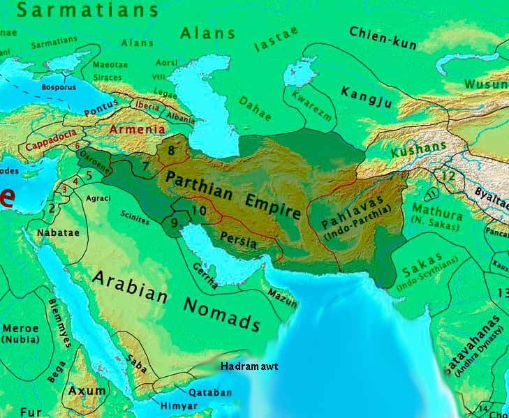 Map of the Parthian Empire