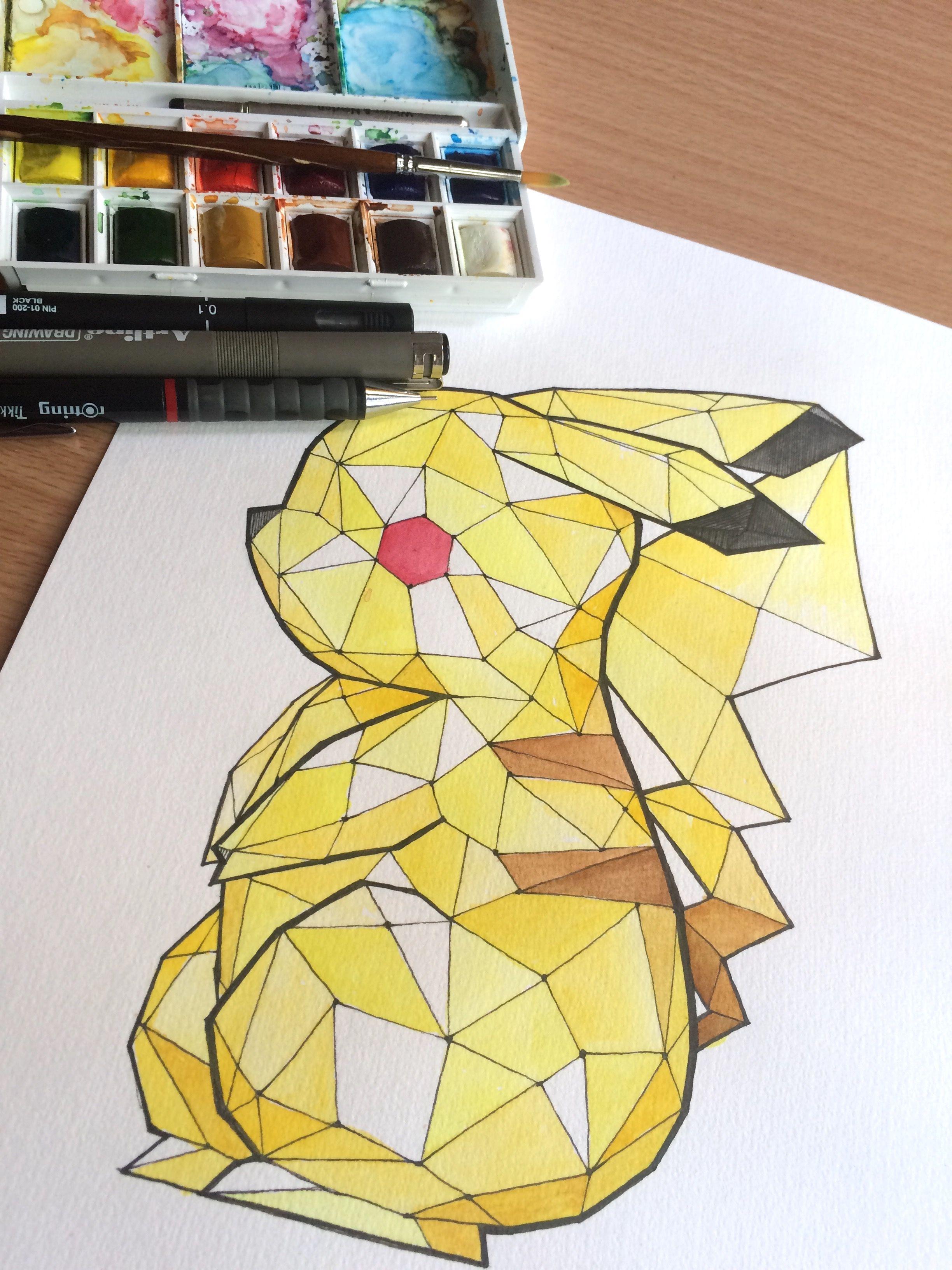 Water color, LowPoly Pikachu Pikachu drawing, Geometric