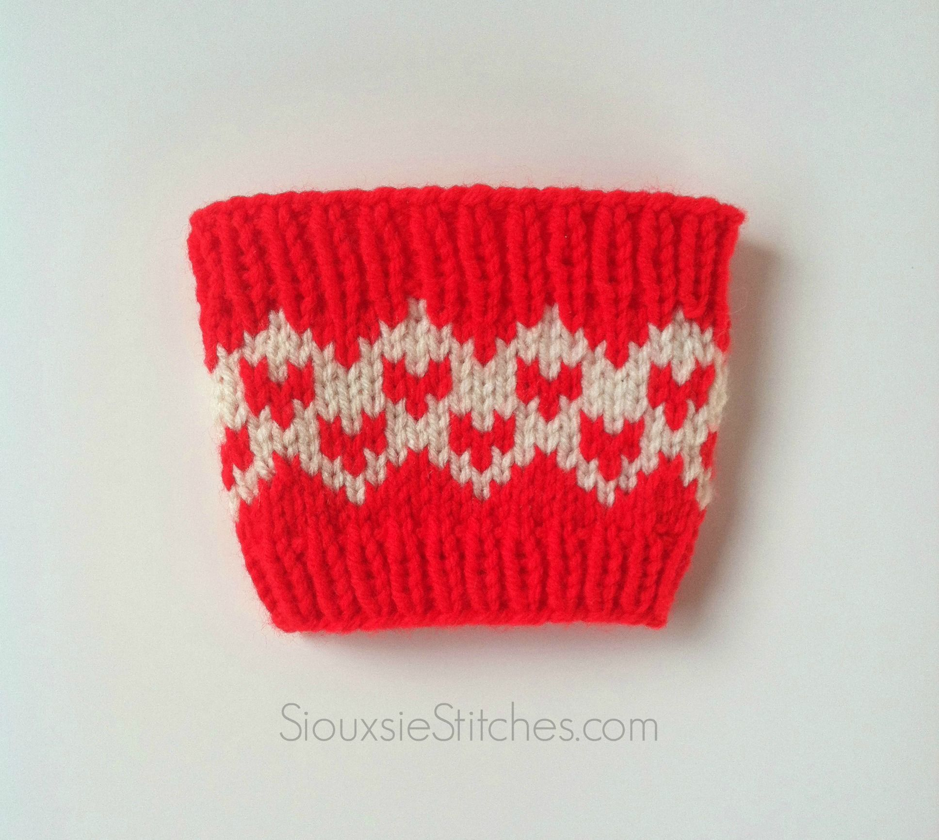 Sweethearts Coffee Cup Sleeve - a free knitting pattern from ...