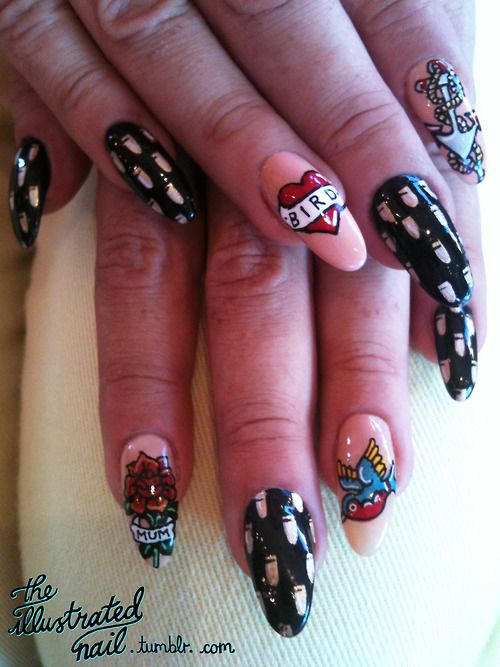 Theillustratednail nail art collabtattoo nails for rita theillustratednail nail art collabtattoo nails for rita gettinnaild i did the prinsesfo Image collections