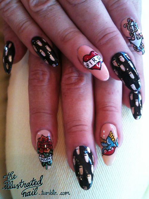 Theillustratednail Nail Art Collabtattoo Nails For Rita