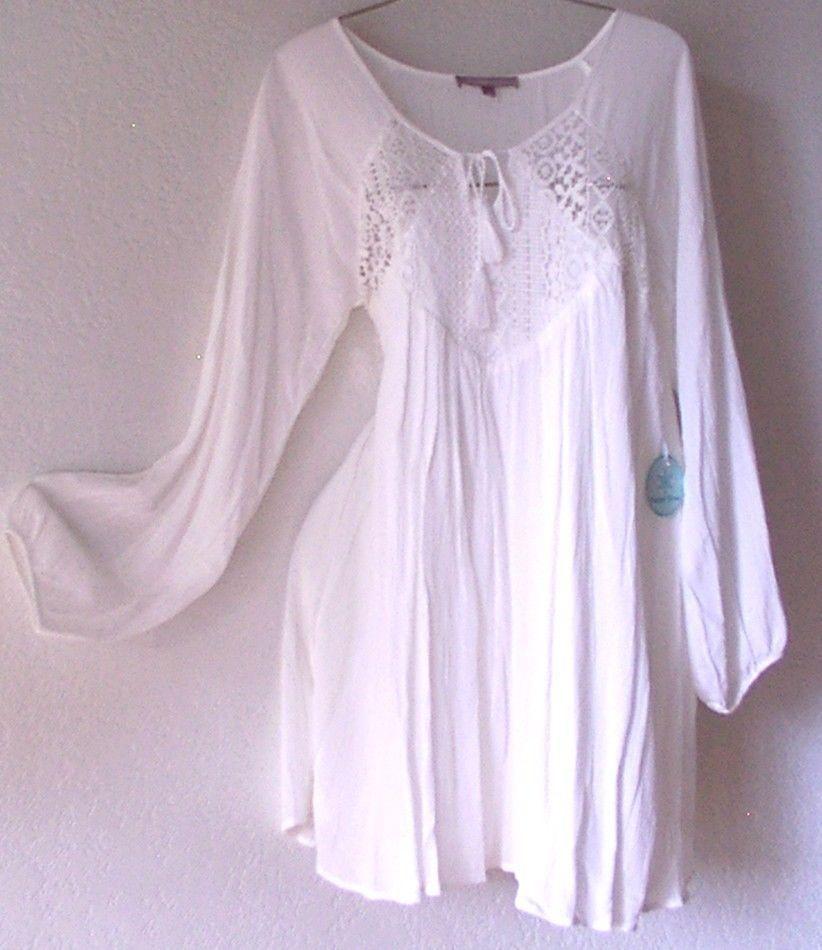 New Long White Crochet Lace Peasant Blouse Tunic Shirt Boho Top 10 12 M L Large | eBay