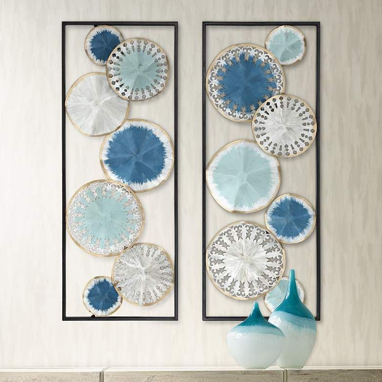 Dazzle 35 12 high blue and silver metal wall art set of