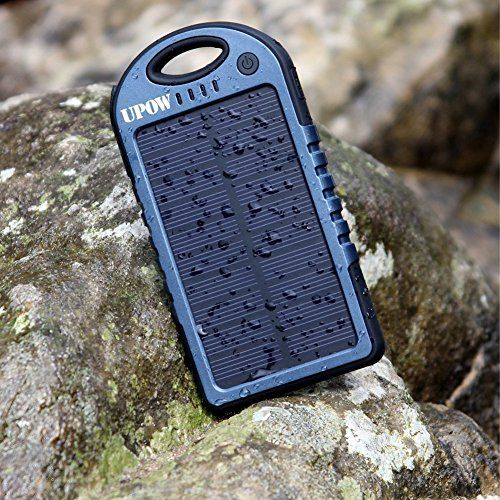 [2015 Version] Solar Charger,Upow 5000mAh Solar Panel Charger with Bluetooth Shutter, Rain-Proof Shockproof Dirt-proof Portable Charger Power Bank for iPhone 6 iPhone 6Plus 5S 5C 5 4S(Apple Adapters not Included), Samsung Galaxy S6 S6 Edge S5 S4 S3 Note 4 Note 3 2, LG G4 G3, Nexus, HTC One M9, Sony, Nokia, Gopro, GPS and More (Blue-Black)