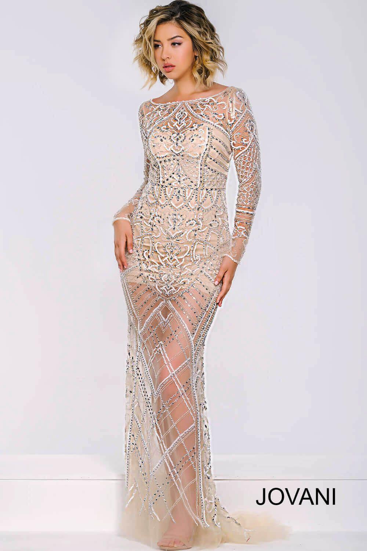 Illusion long sleeve dress
