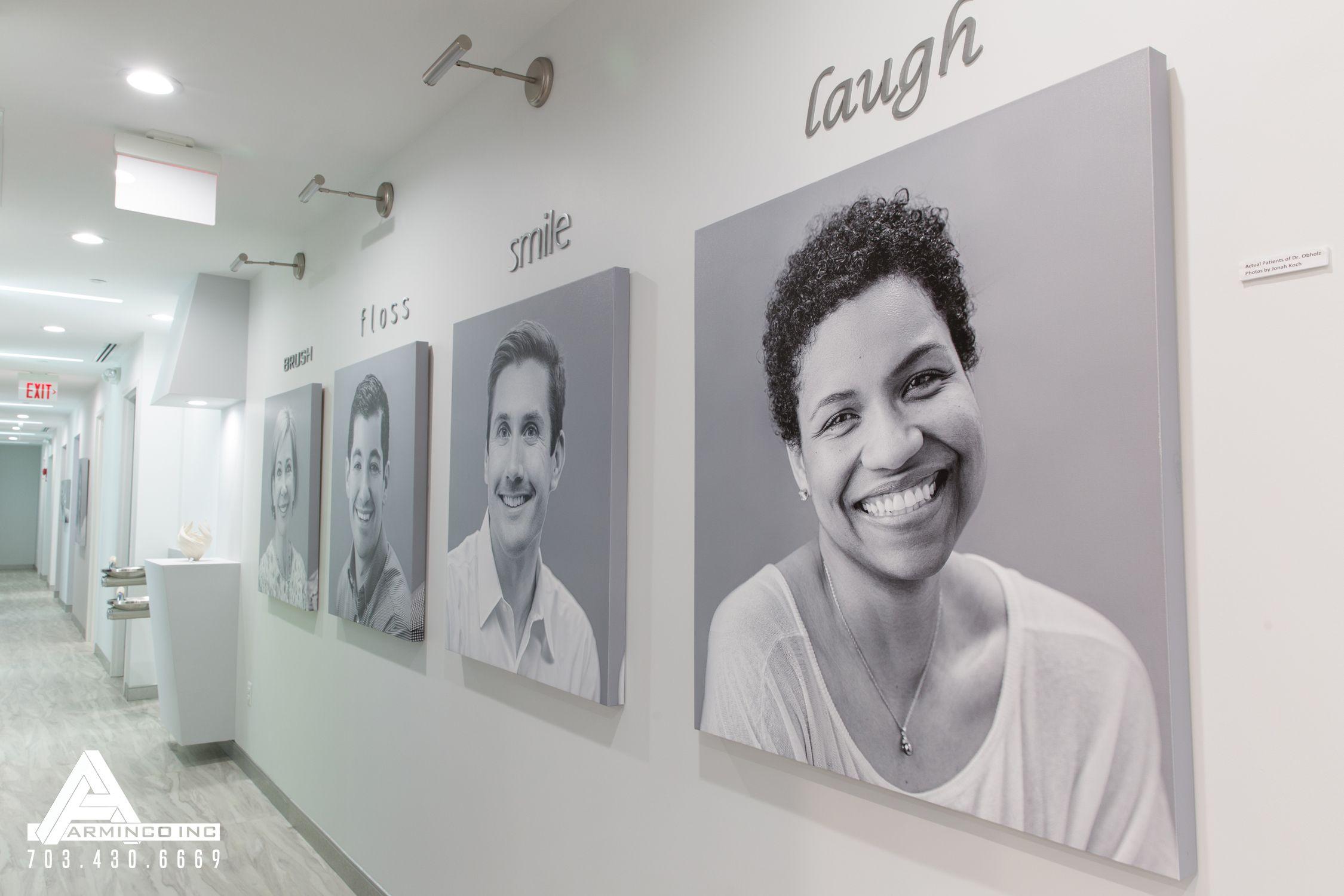 Art Gallery Wall Dental Office Design By Arminco Inc Projeto De Clínica Clínica Dental Projeto De Consultório Odontológico