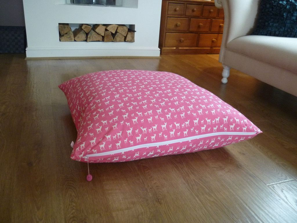 Extra Large Floor Cushion, Pink With White Deer | natural homes ...