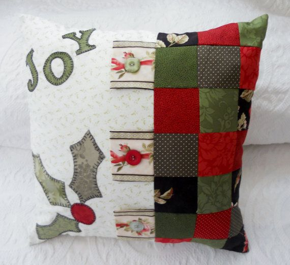 Christmas Joy Quilted Applique Pillow Cover by ForgetMeNotQuilteds, $35.00